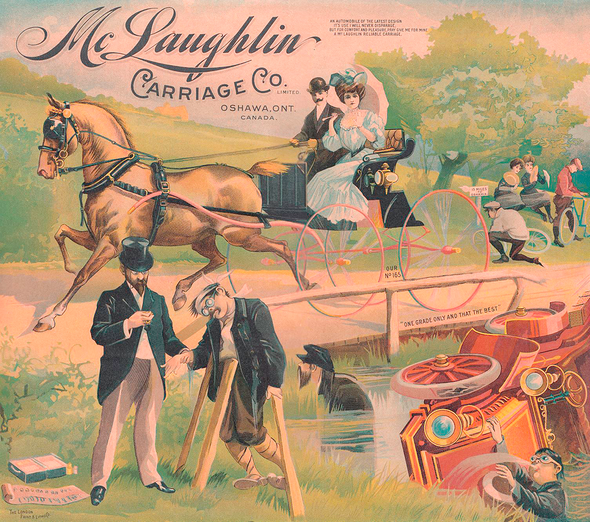 An illustration from the 1906 McLaughlin Carriage Company calendar shows a car tipped over in a stream while a carriage cruises by