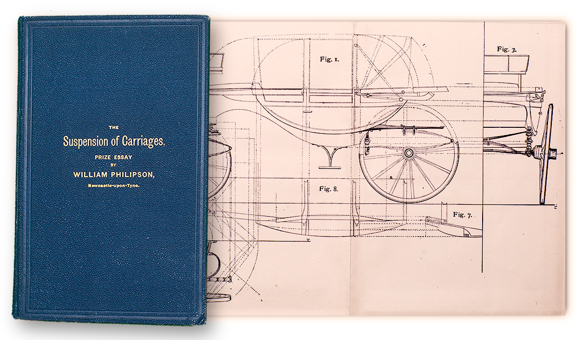 A diagram from and the cover of The Suspension of Carriages by William Philipson