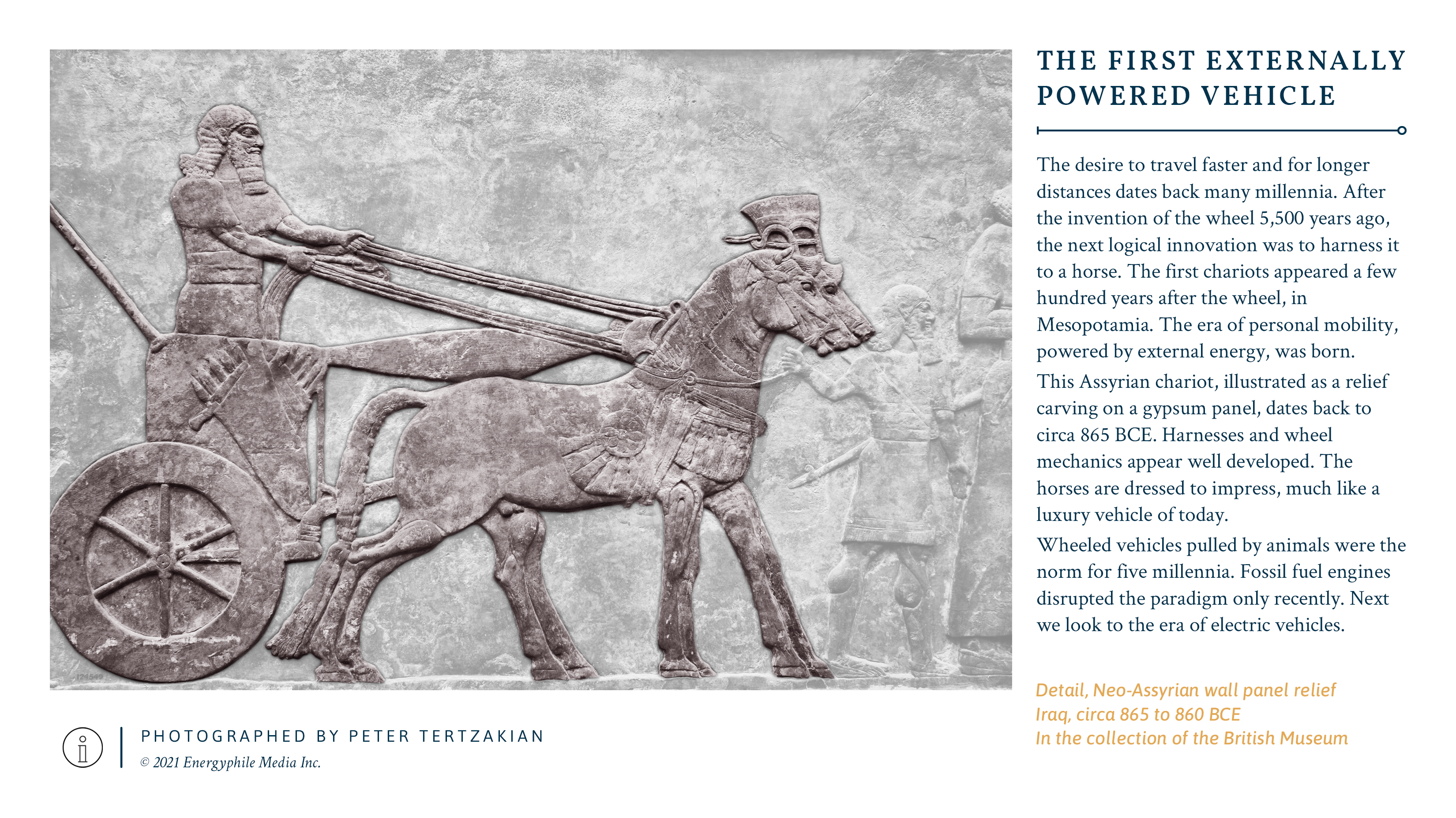 A neo-Assyrian wall panel relief of a horse-drawn chariot